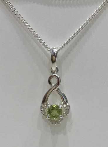 Peridot And Diamond Silver Fancy Necklace